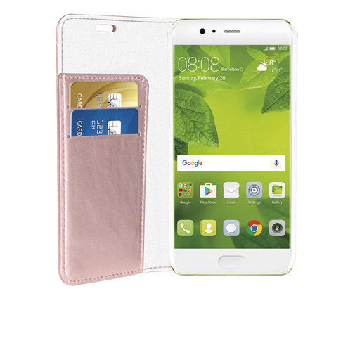 Image of Phonix Custodia a Libro in Ecopelle Sparkling per Huawei P10 - Oro Ros