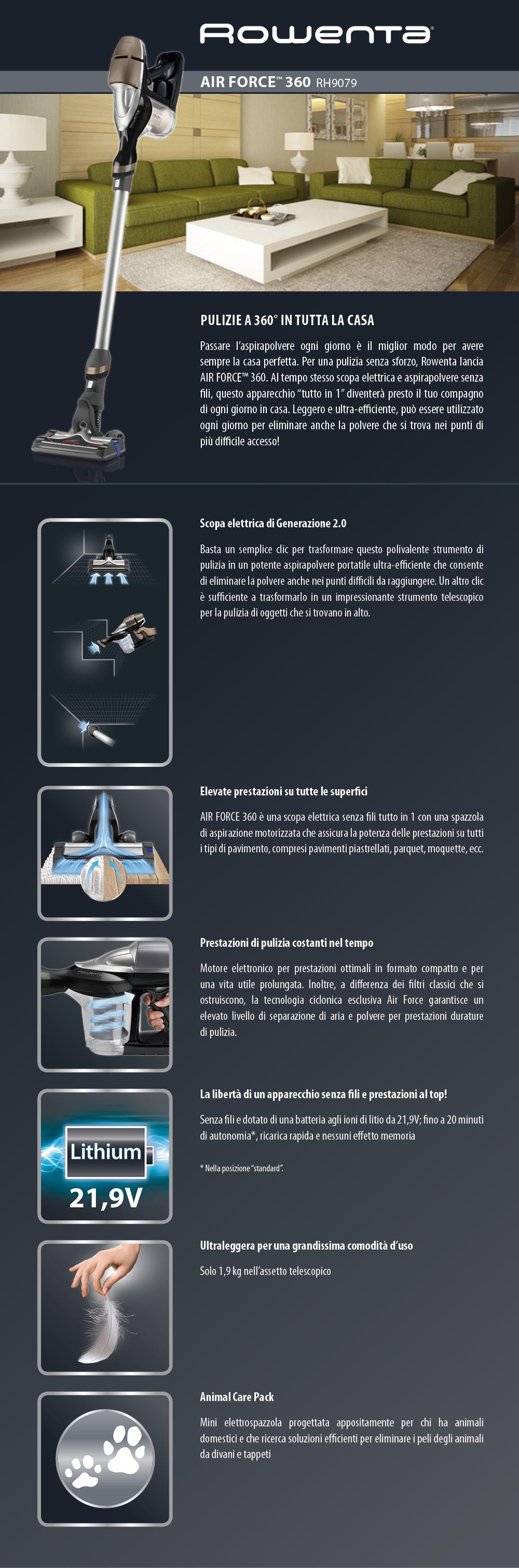 rowenta rh9079 air force 360 scopa elettrica senza fili e sacco versatile con kit animal care. Black Bedroom Furniture Sets. Home Design Ideas