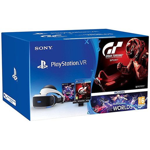 Sony PlayStation VR + PS Camera v2 + VR Worlds + GT Sport Occhiali imm