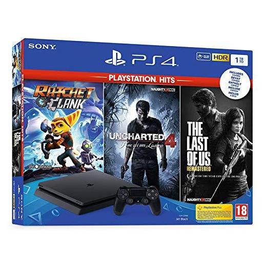 Image of Sony Playstation 4 Slim 1000GB Wi-Fi Nero + Ratchet & Clank + Uncharte
