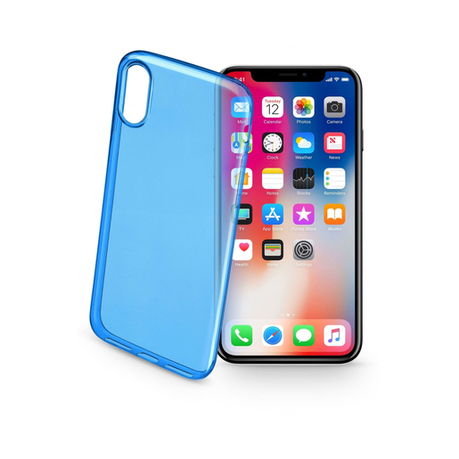 Image of Cellularline Color Case - iPhone X 5.8'' Cover Blu, Traslucido custodia