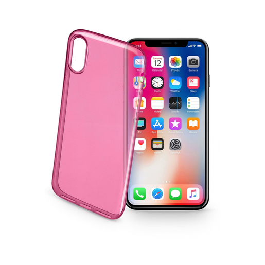 Image of        Cellularline Color Case - iPhone X 5.8'' Cover Rosa, Traslucido custodi