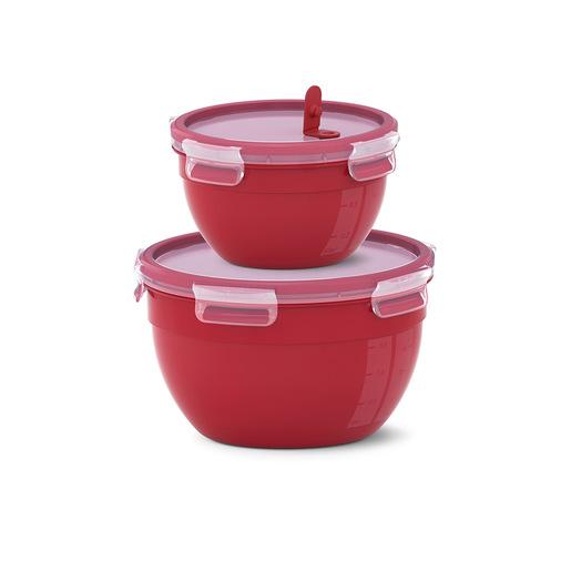 Image of EMSA Clip & Micro - Set di 2 contenitori Rotondi Mcroonde, Rosso, 1.1L