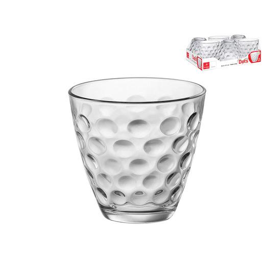 Image of Pengo Vassoio 6 bicchieri vetro acqua DOTS 25.5cl