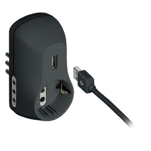 Image of bticino adattatore 2 prese 10A, 1 tedesca, 1 USB