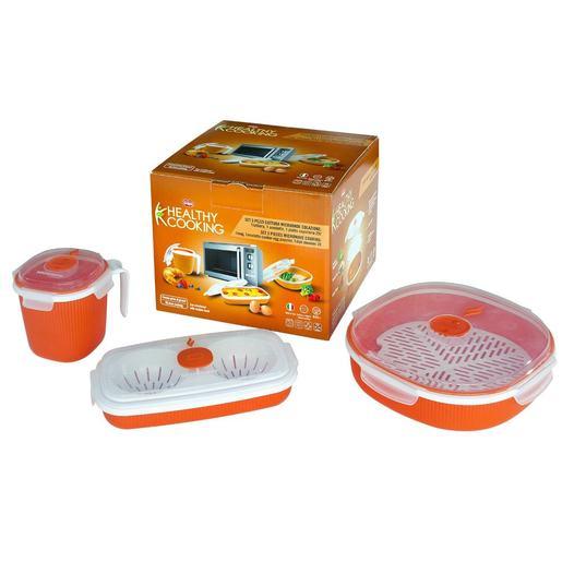 Image of Snips set 3 pezzi Healty Cooking colazione, contenitori da microonde
